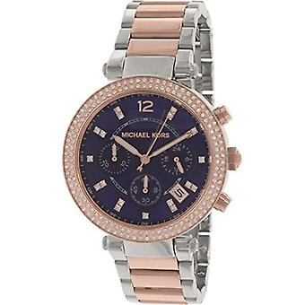 Michael Kors Parker Mini Chronograph Blue Dial Two-tone Ladies Watch MK6141