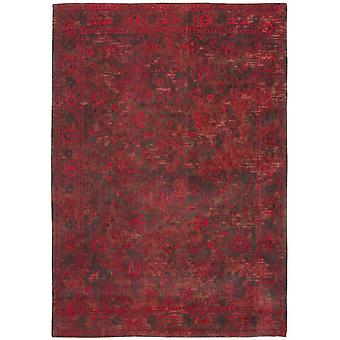Distressed Grey Red Medallion Flatweave Rug 80 x 150 - Louis de Poortere