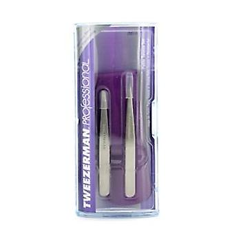 Tweezerman Professional Petite Tweeze Set: Slant Tweezer + Point Tweezer - (With Lavendar Leather Case) - 2pcs