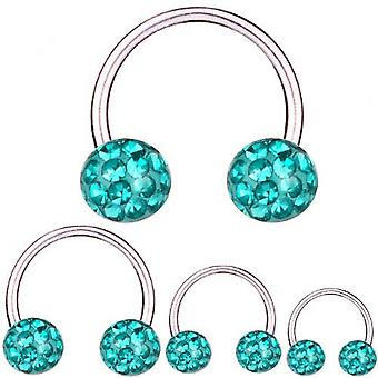 Circular Barbell Horseshoe Titanium 1,6 mm, Multi Crystal Ball Aqua | 8 - 16 mm