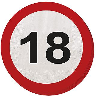 Napkin traffic sign number 18 20 St. sign birthday party