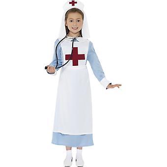 WW1 妹衣装の青いドレス モック エプロンとフード L サイズ