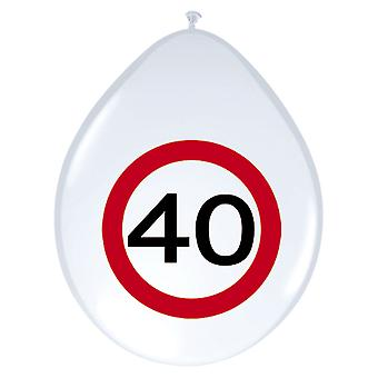 Balloon of balloons 8 St. traffic sign number 40 birthday 30 cm decoration party