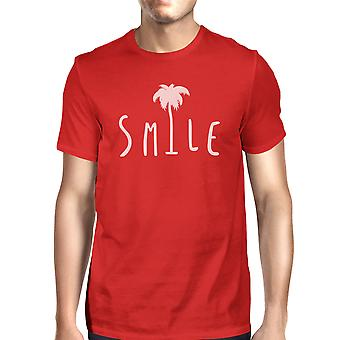 Smile Palm Tree Red Mens Round Neck Tropical Palm Tree Tee Shirt