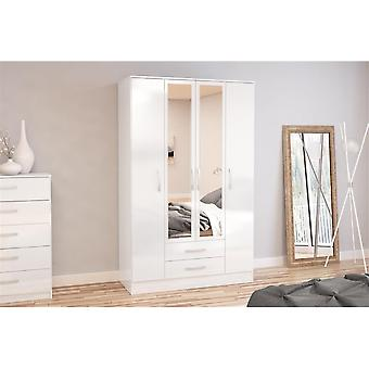 Birlea Lynx 4 Door 2 Drw/mirror White