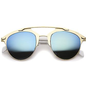 Modern Fashion Metal Double Bridge Mirror Lens Pantos Aviator Sunglasses 50mm