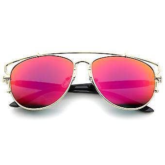Moderne Vollmetall Crossbar offene Konstruktion farbige Spiegel Pilotenbrille 58mm