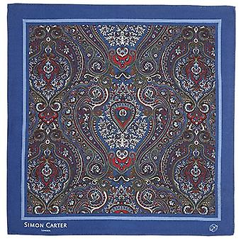 Simon Carter innrammet Paisely silke Pocket Square - Navy