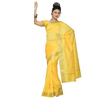 Gele Art Silk Saree Sari stof India gouden rand