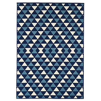 In - and outdoor carpet balcony / living room triangles Navy blue white 160 x 230 cm