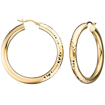 Hoop earrings gold plated round 925 sterling silver gold earrings satin-finish