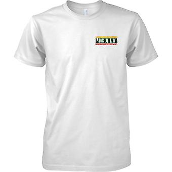 Lithuania Grunge Country Name Flag Effect - Mens Chest Design T-Shirt