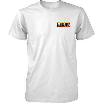 Efecto bandera de Lituania Grunge país nombre - hombres pecho diseño camiseta