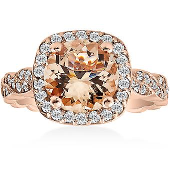 1 7/8ct Morganite & Diamond Vintage Halo Infinity Ring 14K Rose Gold