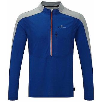 Ron Hill Infinity L/S Zip Tee - Cobalt/Pebble
