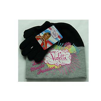 Girls Disney Violetta 2 Piece set Winter Beanie Hat & Gloves