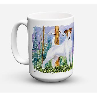 Jack Russell Terrier diskmaskin säkra mikrovågssäker keramisk kaffe Mugg 15 uns