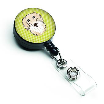Checkerboard Lime Green Longhair Creme Dachshund Retractable Badge Reel