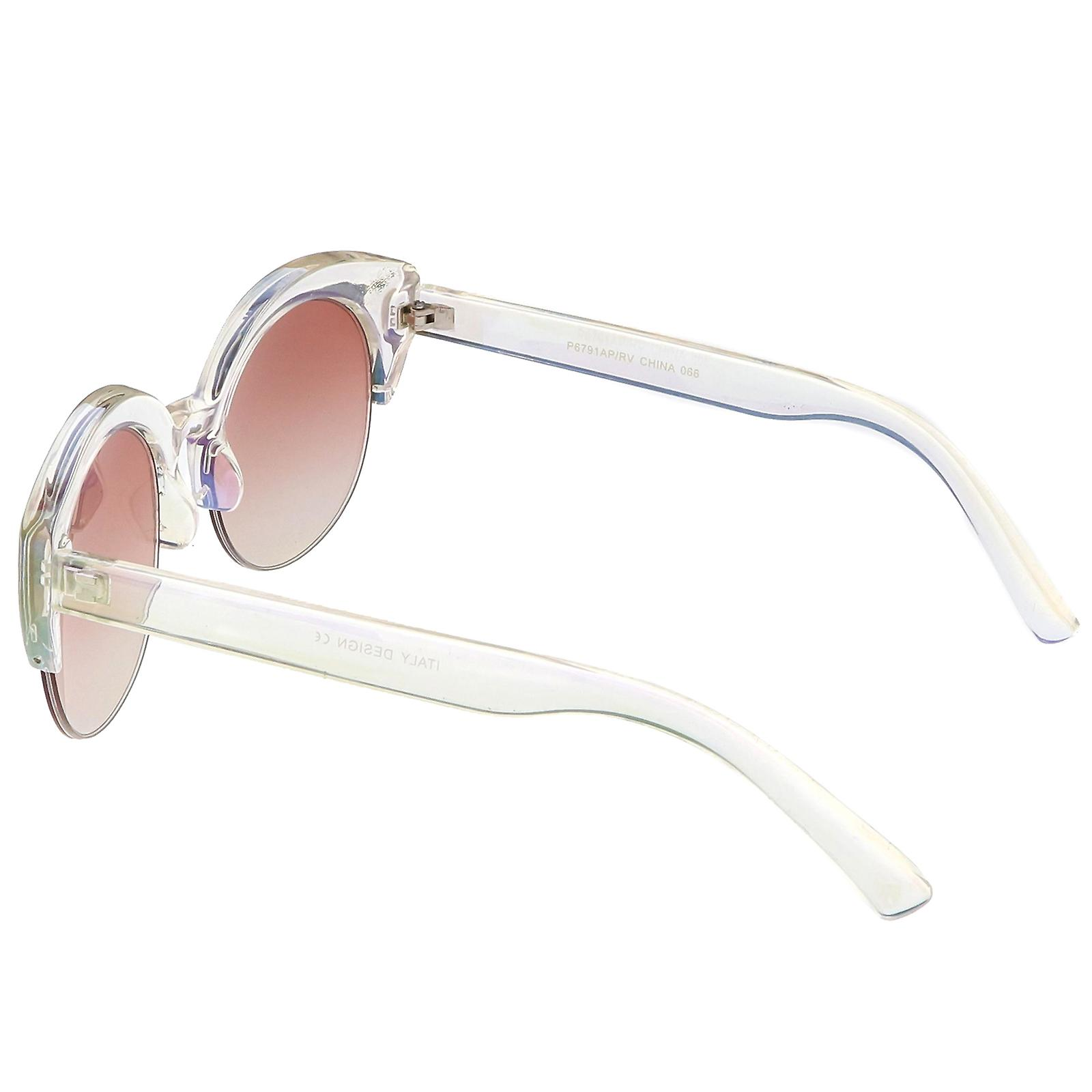 Women's Semi Rimless Cat Eye Sunglasses With Wide Arms Round Lens 53mm
