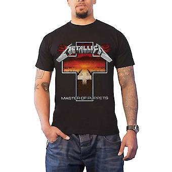 Metallica T Shirt Master Of Puppets Cross band logo new Official Mens Black