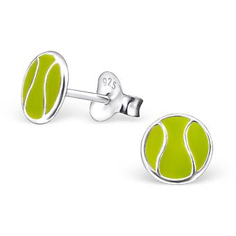 Tennis Ball - 925 Sterling Silver Colourful Ear Studs - W21839x