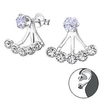 Round - 925 Sterling Silver Ear Jackets & Double Earrings - W28749x