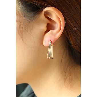 14 k gule gull trippel ovale Hoop Earring i gaveeske