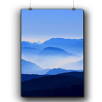 Matte or Glossy Poster with Fog Mountain Sky Nature | Wellcoda | *q280