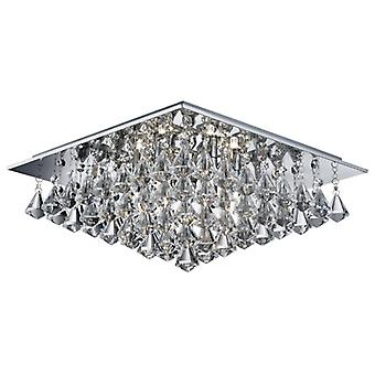 Hanna Chrome Square 6 Light Semi Flush Ceiling Fixture With Pyramid Crystals - Searchlight 7306-6cc