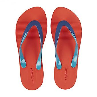 Speedo Saturate II Thong Flip Flops, Lava Red With Blue