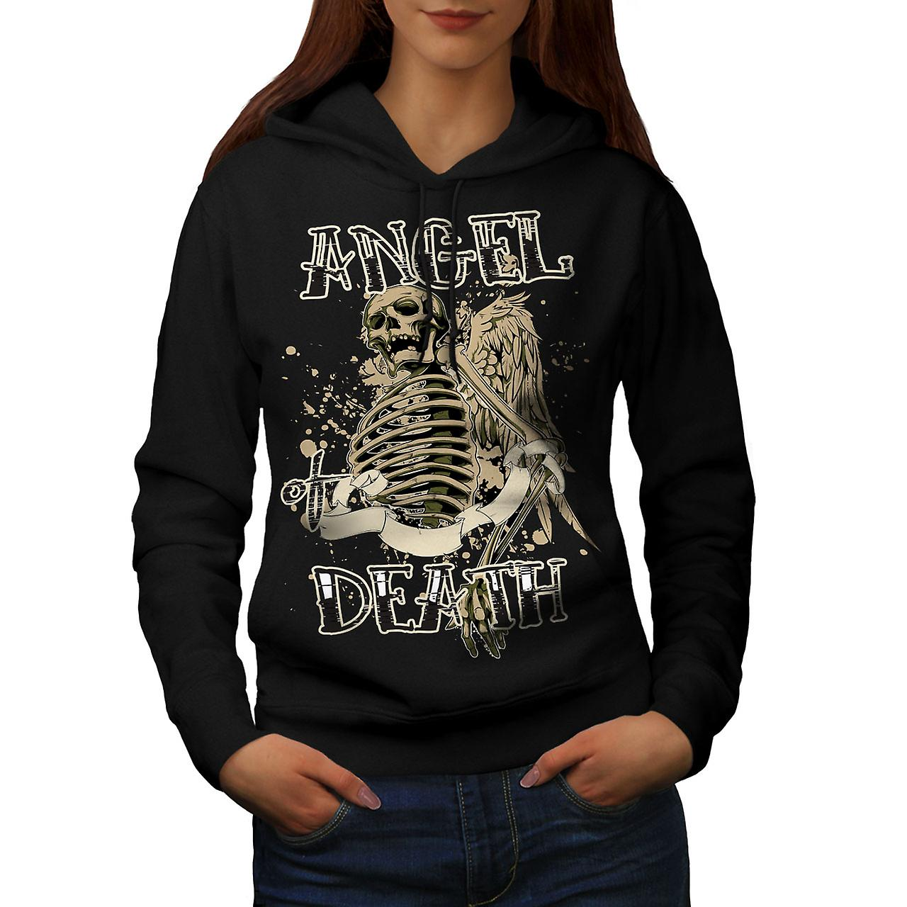 Angel Death Gothic Skull Women Black Hoodie | Wellcoda