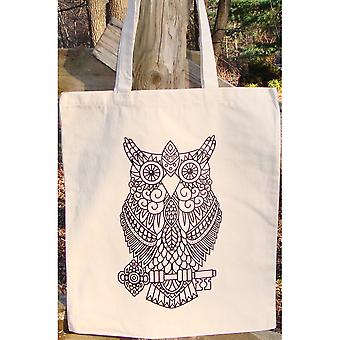 Stamped Canvas Tote To Color-Owl 98101T