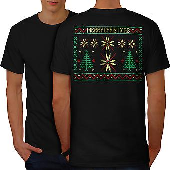 Merry Christmas Art Men BlackT-shirt Back | Wellcoda