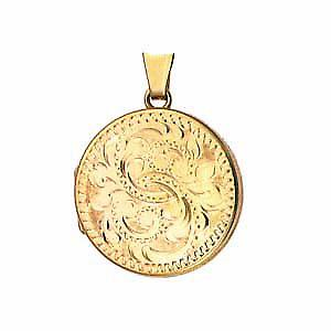 9ct Gold 23mm hand engraved flat round Locket