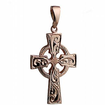 9ct Rose Gold 35x24mm hand engraved Celtic Cross with bail