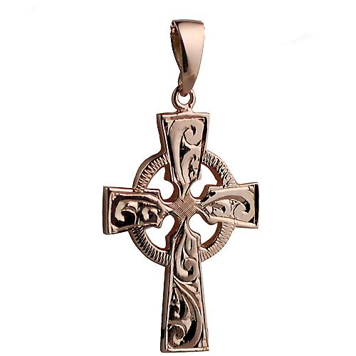 9ct Rose Gold 35x24mm hand engraved Celtic Cross