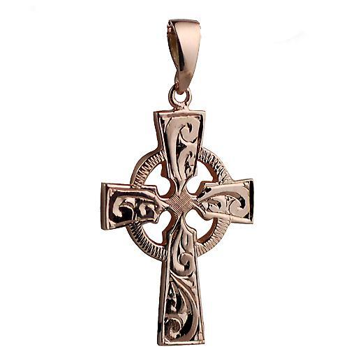 9ct Rose Gold 35x24mm Hand graviert Celtic Cross