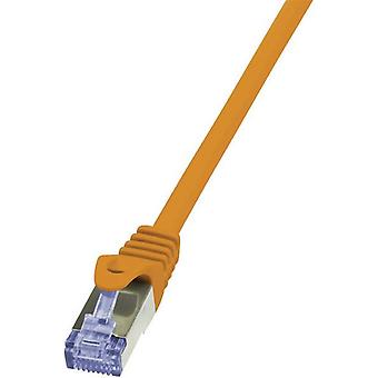 RJ49 Networks Cable CAT 6A S/FTP 5 m Orange Flame-retardant, incl. detent LogiLink