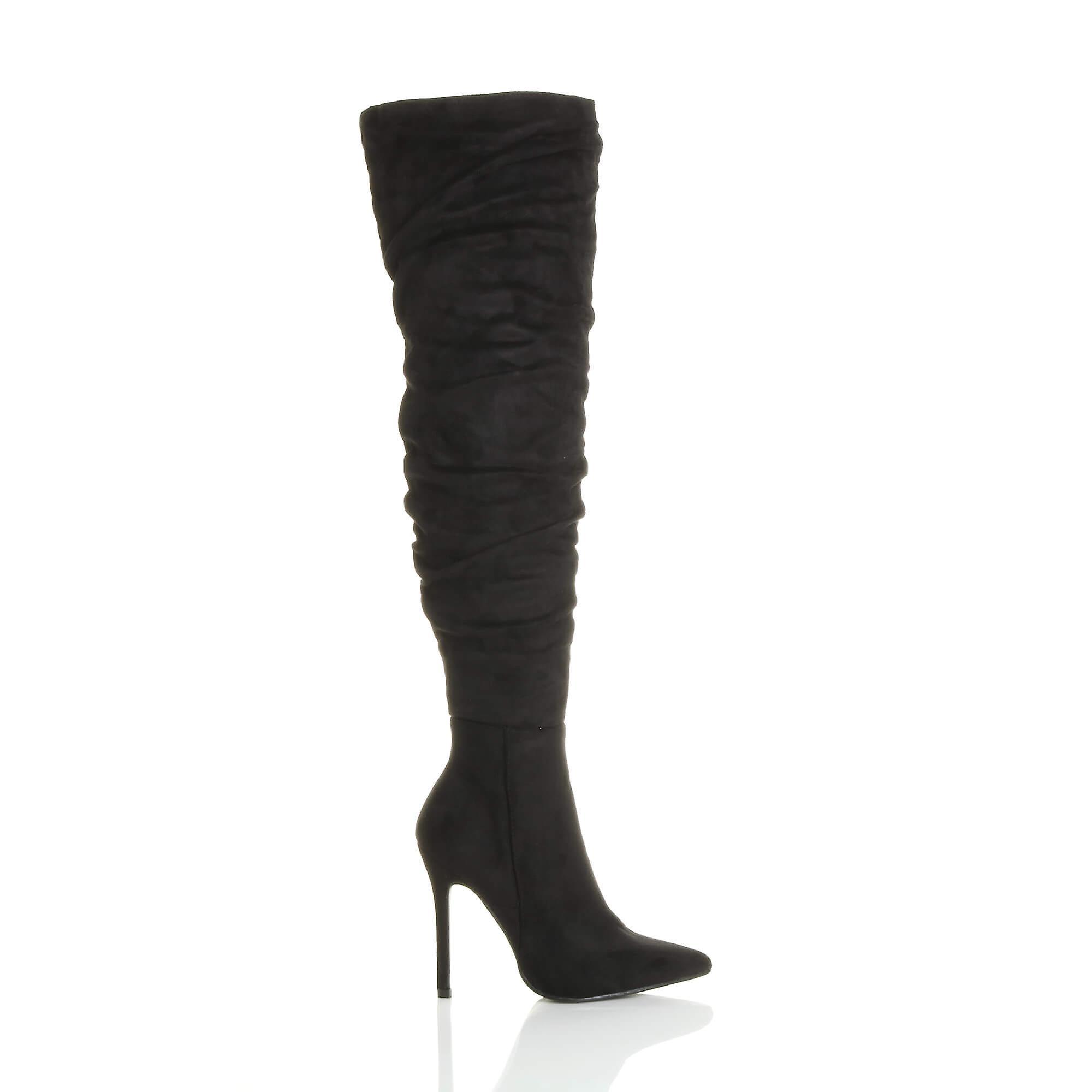 1ca9f47456c4 Ajvani dame høj hæl ruched daske over spidse lår støvler