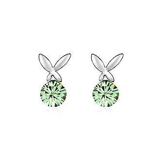 Schmetterling Ohrringe geschmückt mit grünen Swarovski-Kristallen und Weißgold Platte