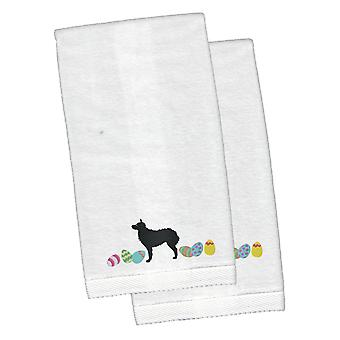 Croatian Sheepdog Easter White Embroidered Plush Hand Towel Set of 2