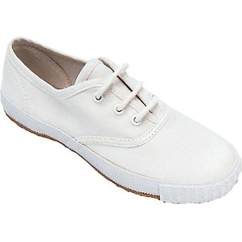 Mirak Girls Morris Lace-Up Textile Classic Plimsoll Shoe White (Lge)