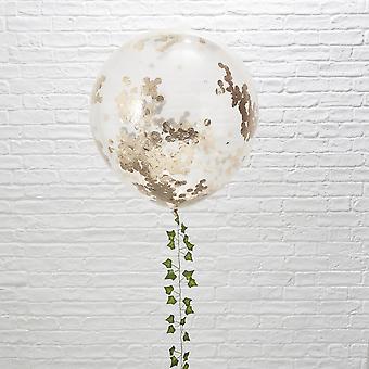 Large Orb Balloon Rose Gold Confetti - Beautiful Botanics 36 inches Set of 3