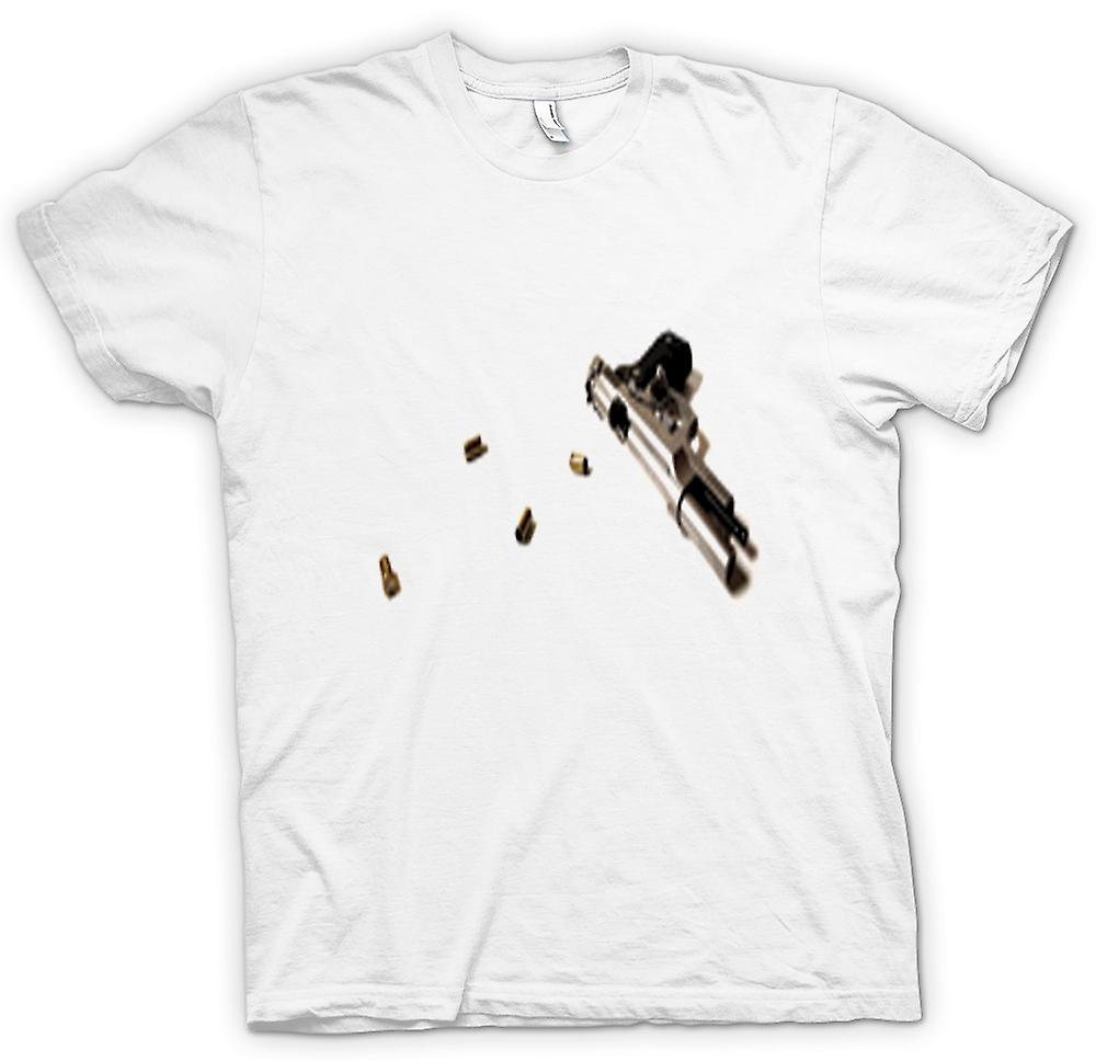 Womens T-shirt - Hand Gun Pistol With Bullets