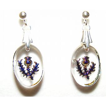 Heliotrope Thistle Oval Earrings