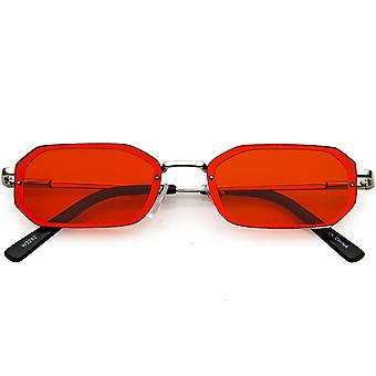Small Rimless Rectangle Sunglasses Color Tinted Lens 53mm