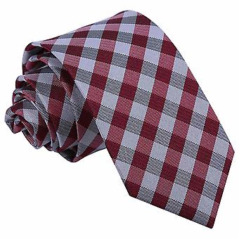 Dunkle rote Gingham Check Slim Krawatte