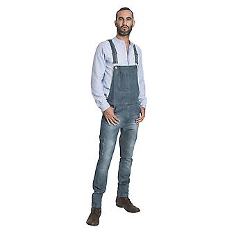 USKEES TOBY Slim Fit Mens Dungarees - Aged Blue Fashion Bib Overalls