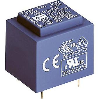 PCB mount transformer 1 x 230 V 1 x 6 V AC 2 VA 333 mA VB 2,0/1/6 Block