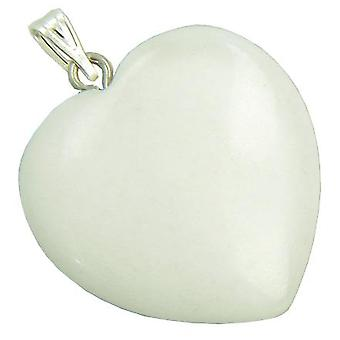 A Lucky Puffy White Jade Gemstone Heart Evil Eye Protection Talisman Pendant
